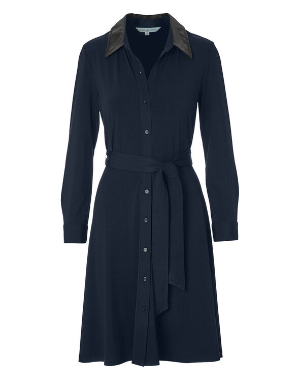 Navy Self-Tie Shirt Dress, Navy, hi-res