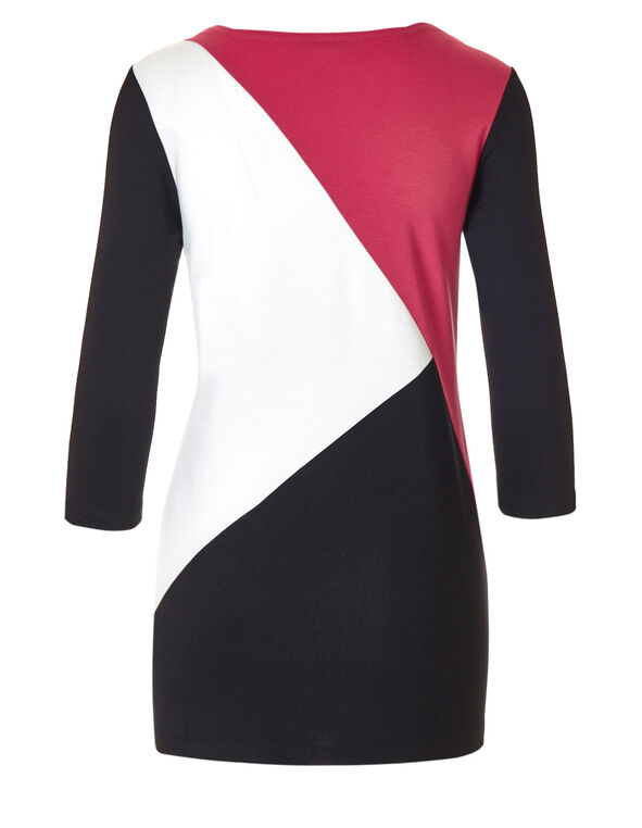 Pink Colour Block Tunic, Black/Pink/Ivory, hi-res