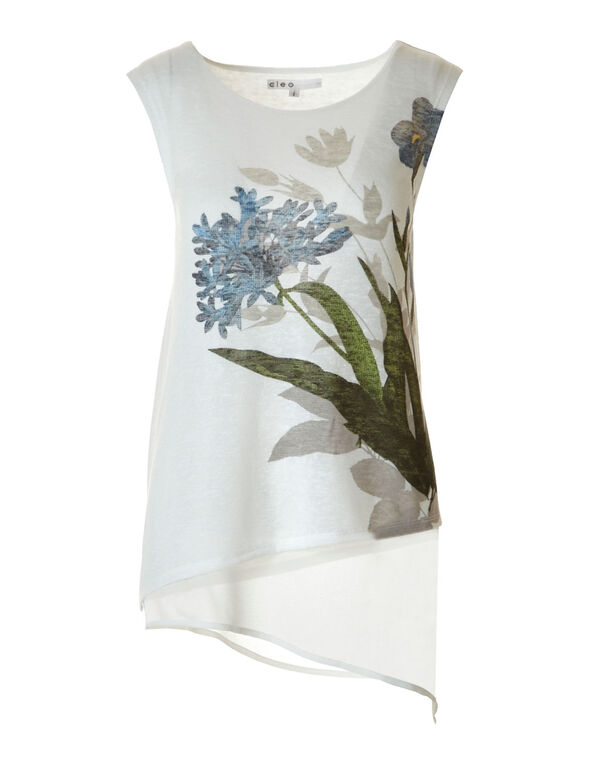Ivory Hacchi Asymettrical Top, Ivory, hi-res
