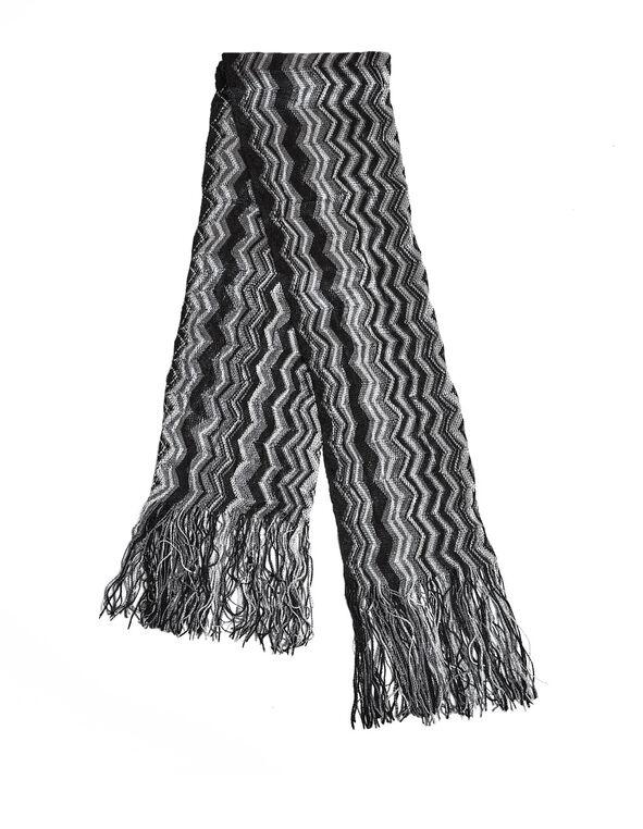 Black Zig Zag Fringe Scarf, Black/Grey/White, hi-res