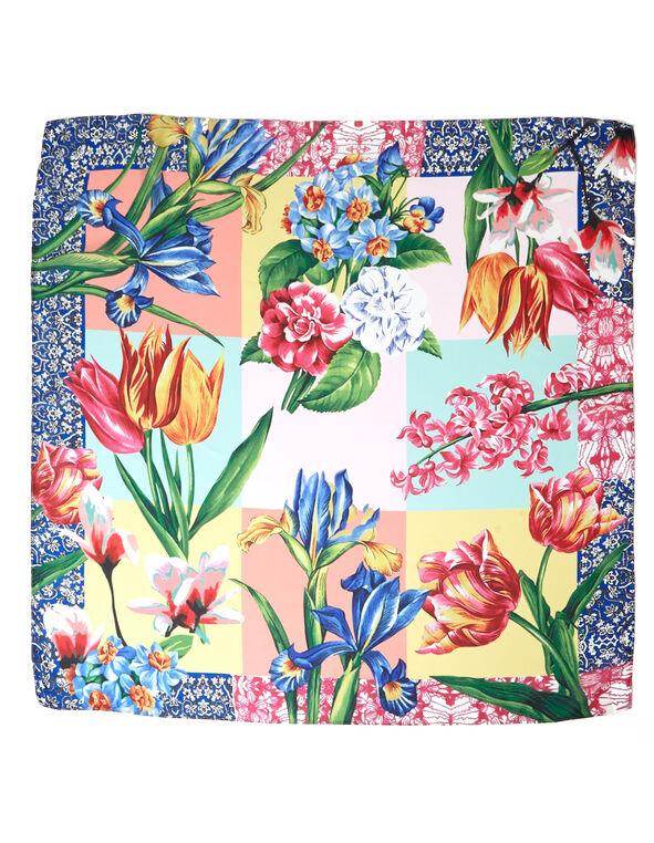 Floral Patchwork Square Scarf, Multi Floral, hi-res