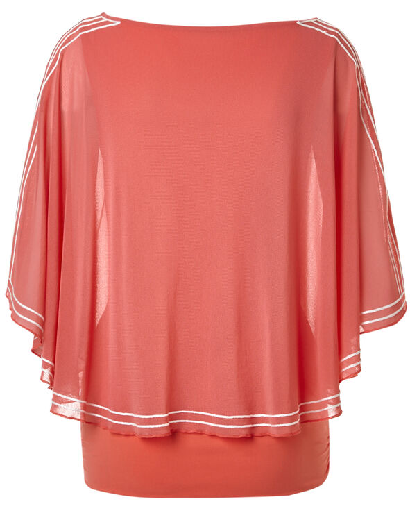 Coral Embroidered Caftan, Coral/White, hi-res