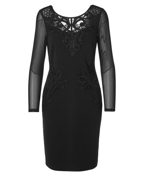 Black Crochet Sheath Dress, Black, hi-res