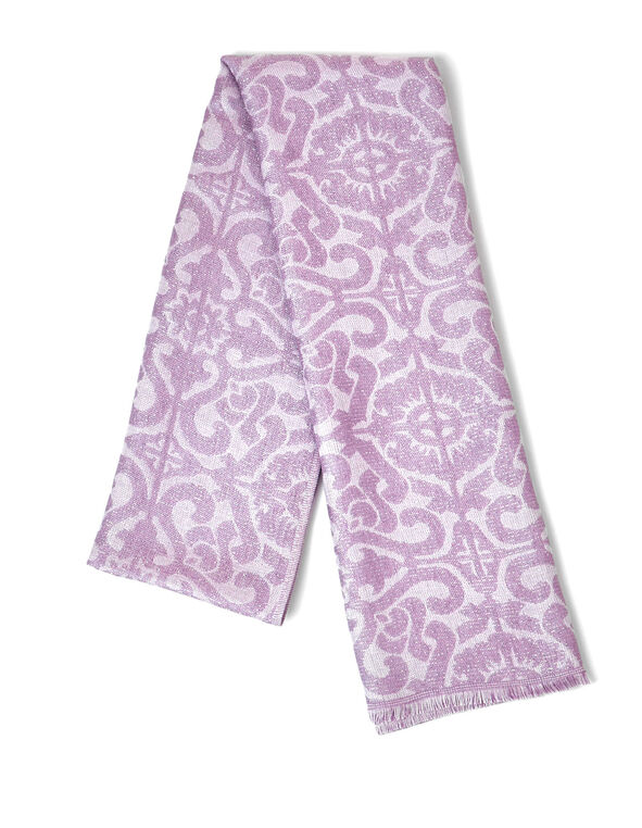 Orchid Scroll Lurex Scarf, Orchid, hi-res