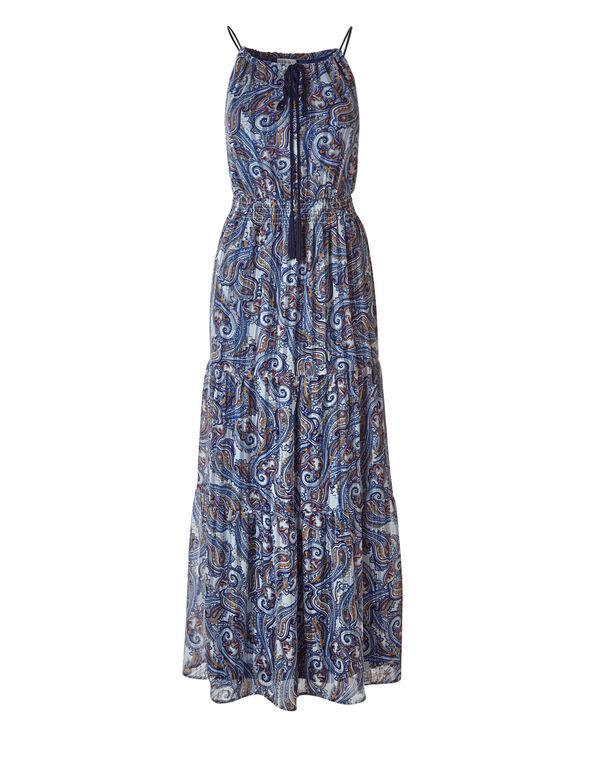 Paisley Printed Maxi Dress, Blue Paisley, hi-res