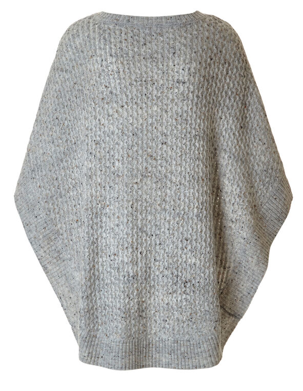 Light Grey Novelty Stitch Poncho, Light Grey, hi-res