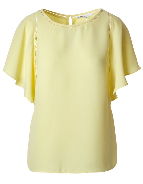 Yellow Flutter Blouse, Yellow, hi-res