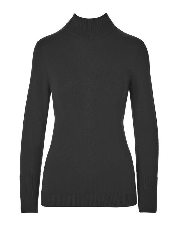 Black Mock Neck Sweater, Black, hi-res