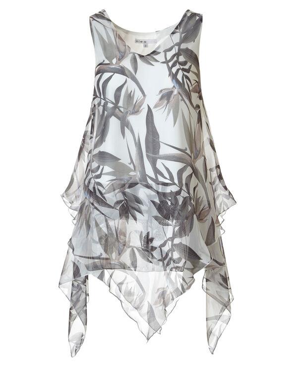 Neutral Printed Tunic Blouse, Neutral Print, hi-res