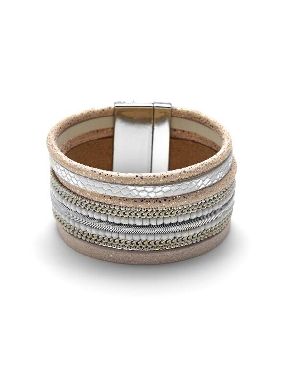 Pink Magnetic Wrap Bracelet, Pink, hi-res