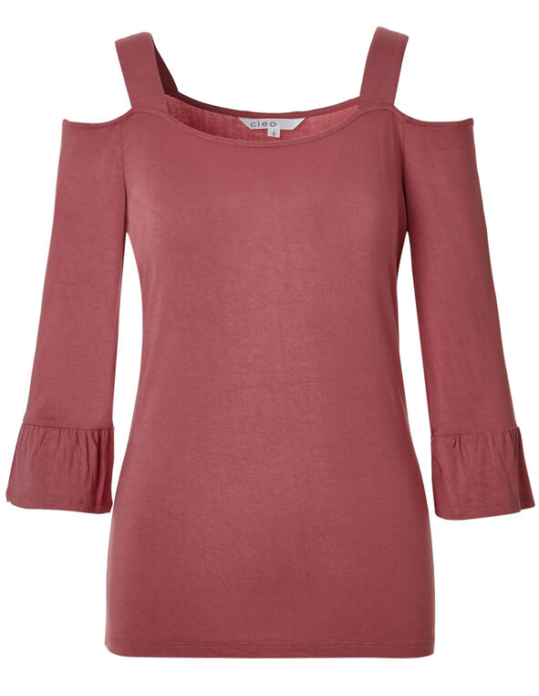 Dark Pink Cold Shoulder Top, Dark Pink, hi-res