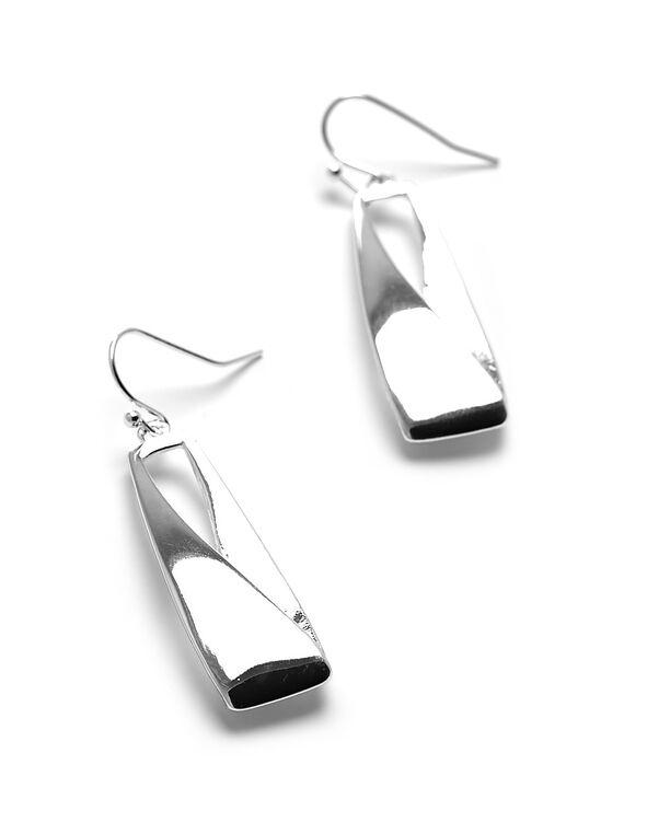 Silver Geo Drop Earring, Silver, hi-res
