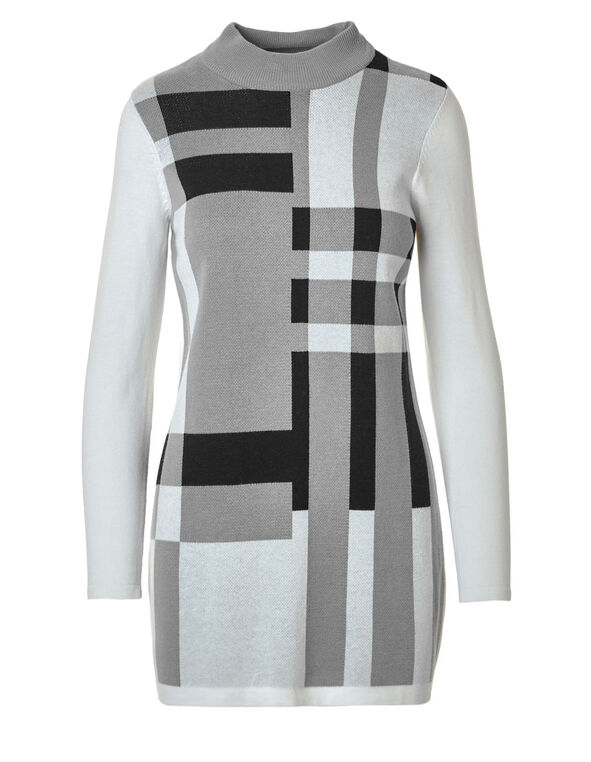 Grey Colour Block Tunic Sweater, Light Grey Mix, hi-res
