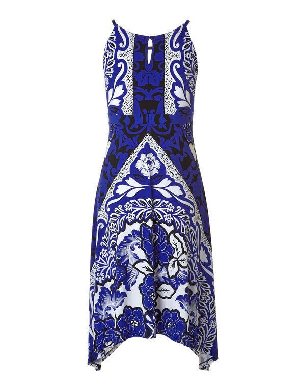 Cobalt Printed Shark Bite Dress, Cobalt, hi-res