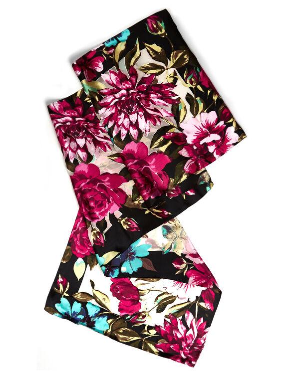 Pink Floral Silk Burnout Scarf, Pink, hi-res