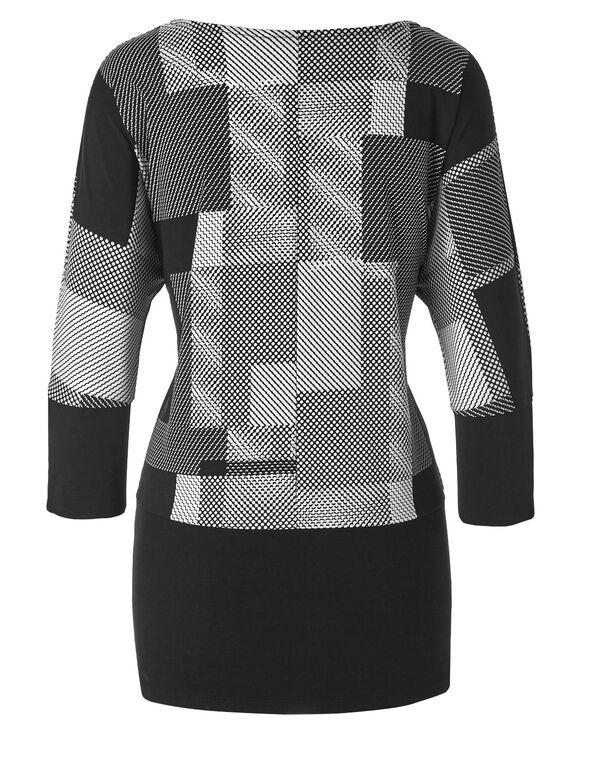 Black Printed Zip Sleeve Top, Black, hi-res