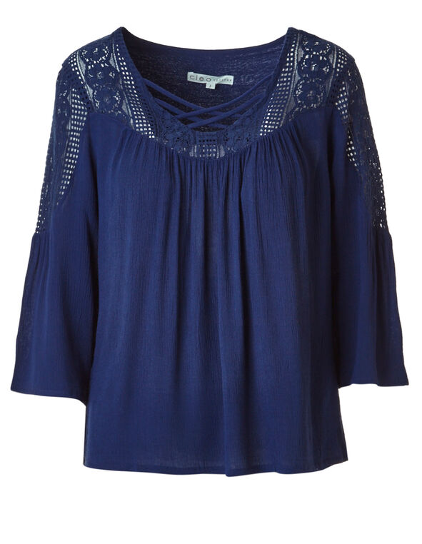 Ink Blue Lace Blouse, Ink Blue, hi-res