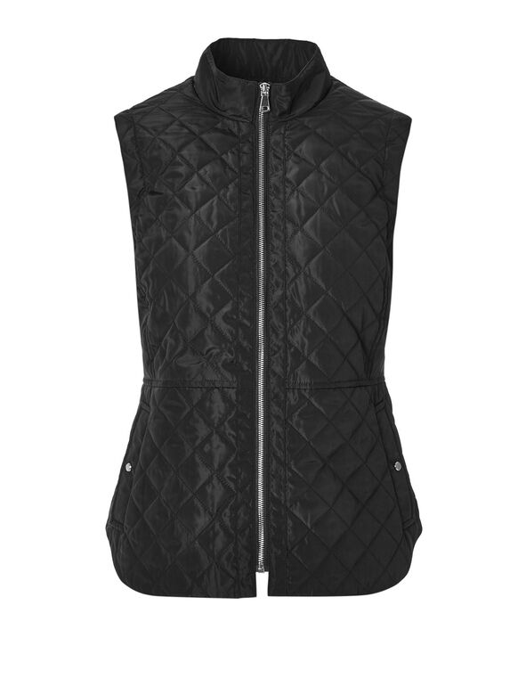 Black Polyfill Vest, Black, hi-res