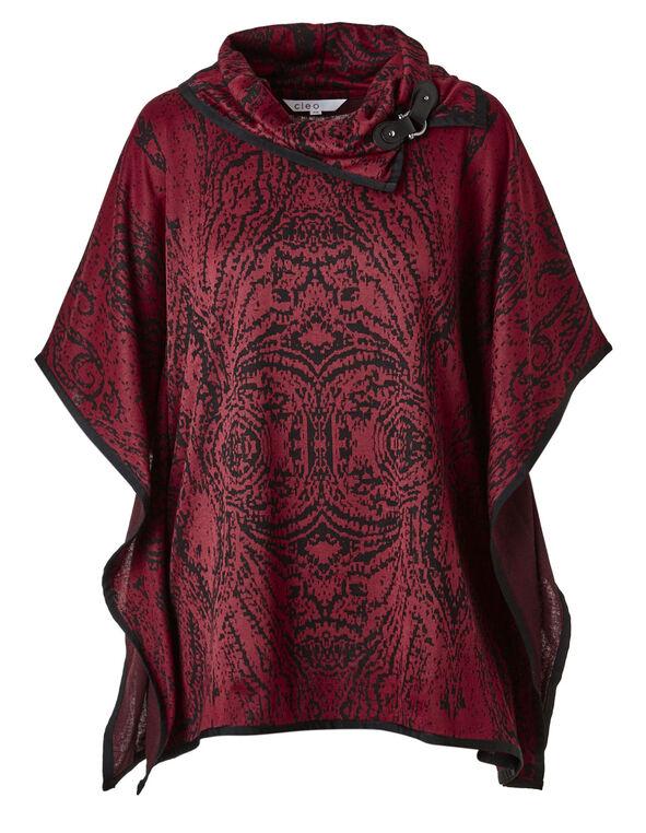 Red Printed Drape Topper, Red, hi-res