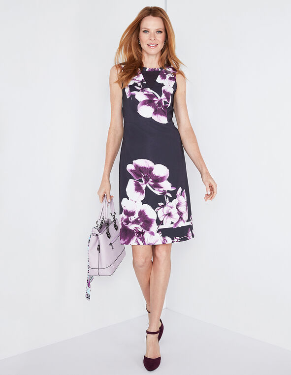 Navy Floral Mesh Insert Dress, Navy/Orchid, hi-res