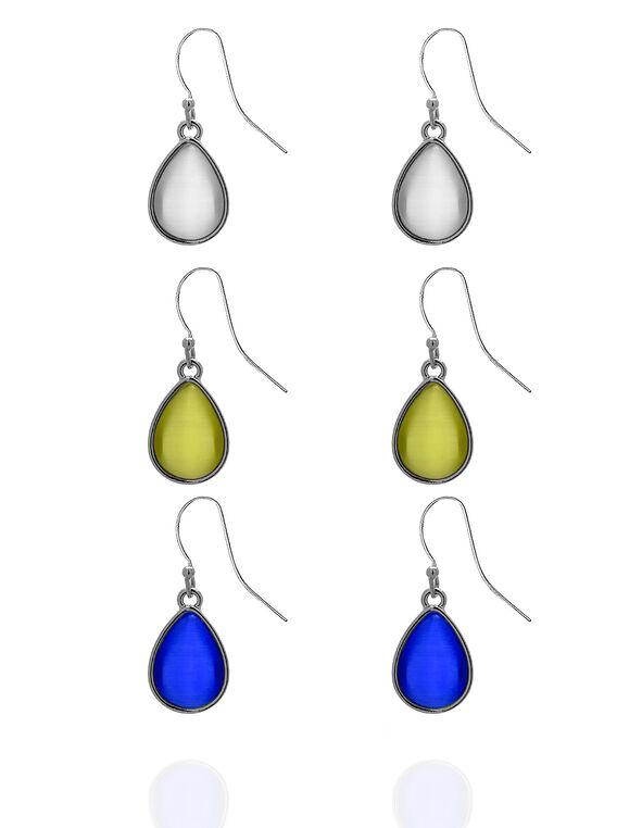 Cat Eye Trio Earring Set, Silver/Yellow/Blue, hi-res