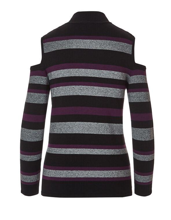 Dark Plum Cold Shoulder Sweater, Dark Plum/Grey/Black, hi-res