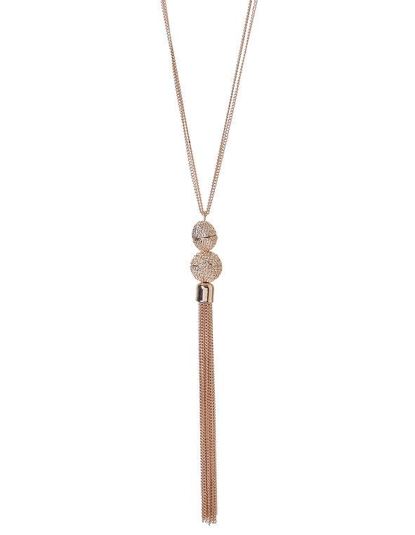 Rose Gold Tassel Necklace, Rose Gold, hi-res