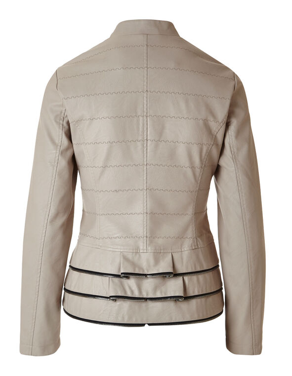 Pale Pink Faux Leather Jacket, Soft Pink, hi-res