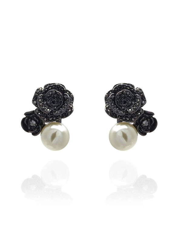 Ivory Pearl Flower Earring, Hematite/Pearl, hi-res