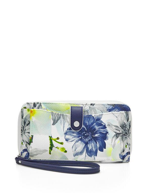 Blue Floral Wallet, Blue, hi-res