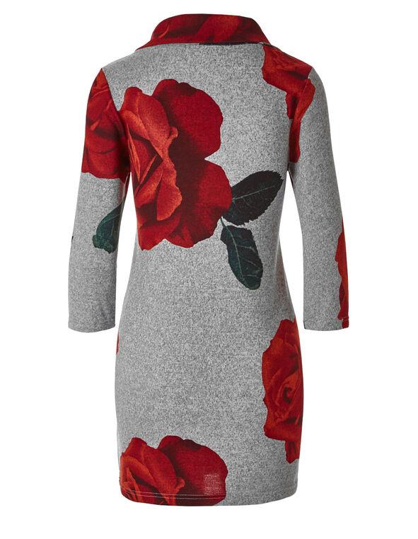 Grey Rose Print Hacchi Tunic, Grey, hi-res