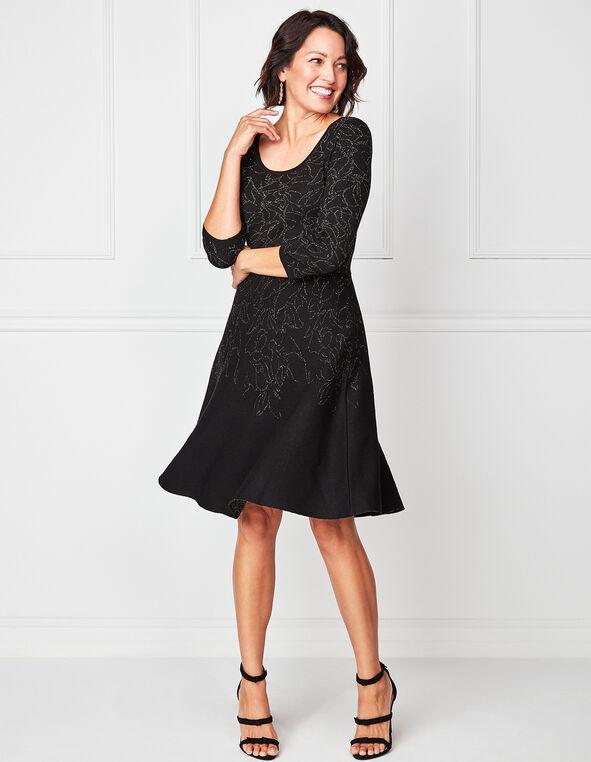Black Shimmer Knit Dress, Black, hi-res