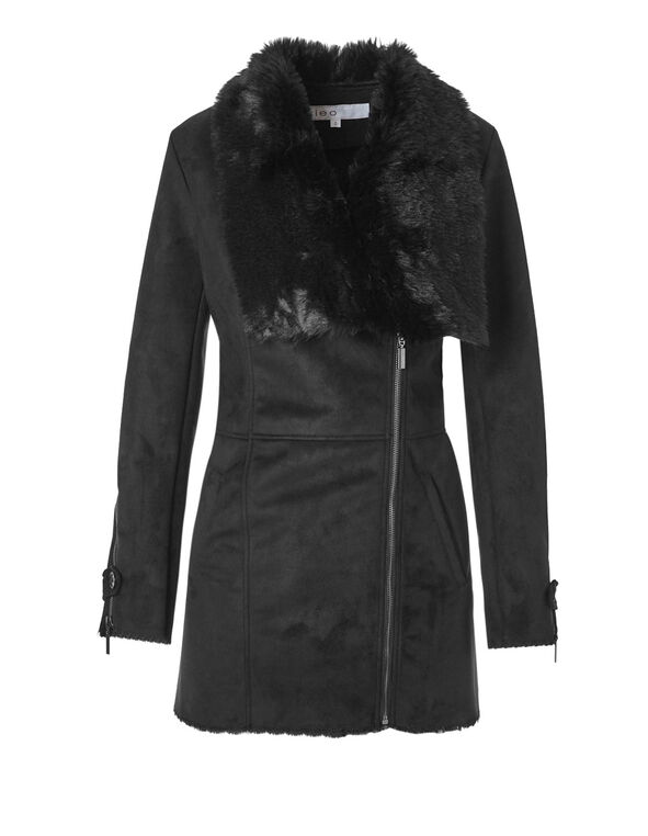 Faux Shearling Suede Coat, Black, hi-res