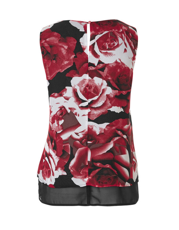Red Floral Layered Blouse, Red Pattern, hi-res