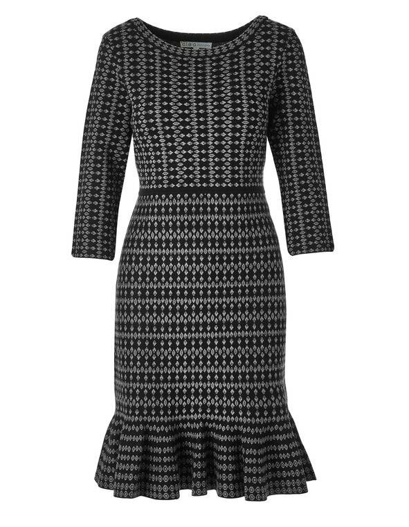 Black Patterned Sweater Dress, Black, hi-res