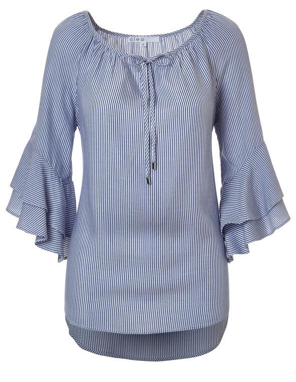 Blue Stripe Ruffle Sleeve Blouse, Blue Stripe, hi-res