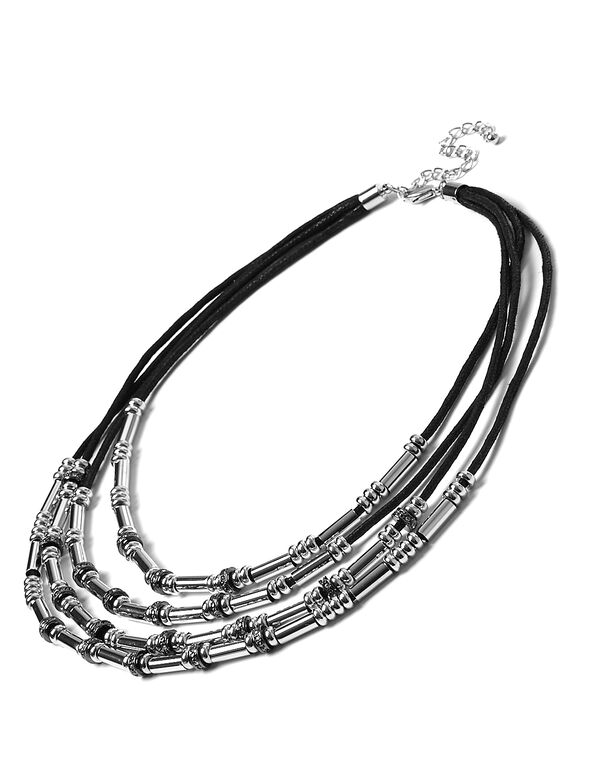 Black Cord Two Toned Necklace, 2-Tone, hi-res