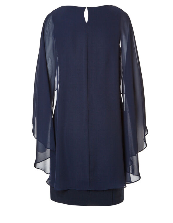 Navy Capelet Shift Dress, Navy, hi-res