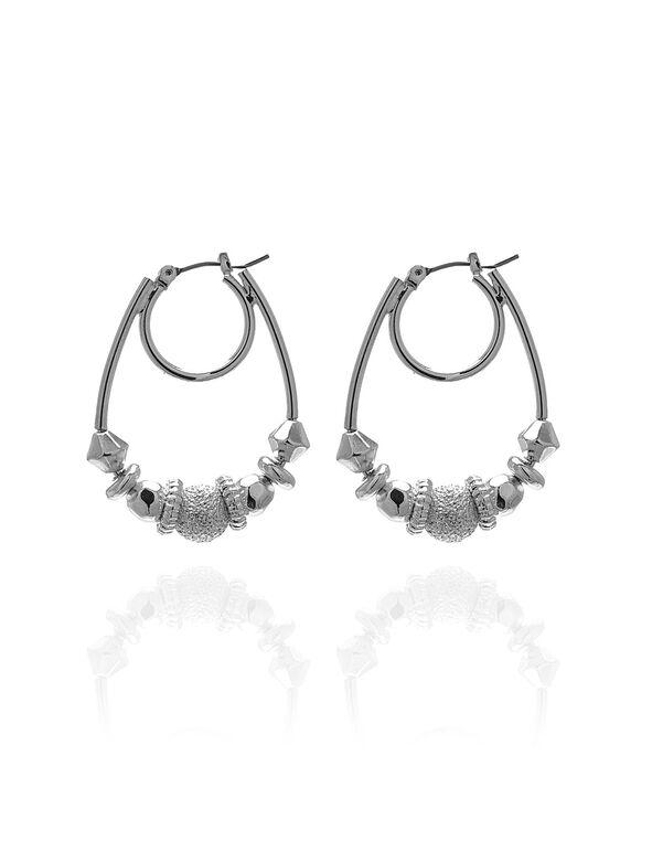Silver Hoop Rondelle Earring, Silver, hi-res