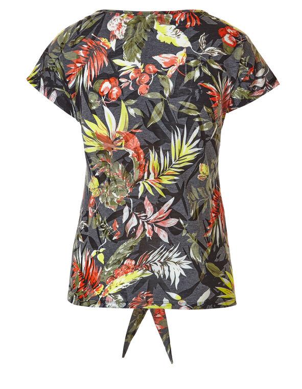 Palm Printed Tie Tee, Grey, hi-res