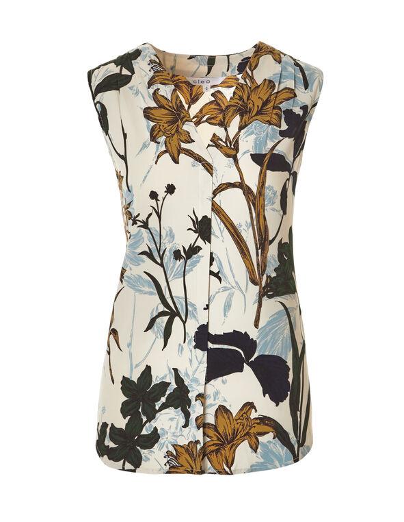 Saffron Floral V-Neck Blouse, Ivory/Saffron/Washed Blue/Olive, hi-res