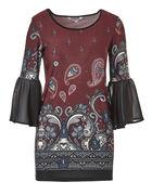 Bell Sleeve Claret Tunic, Claret Print, hi-res