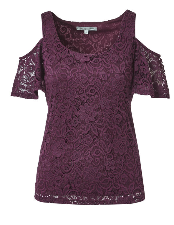 Claret Lace Cold Shoulder Top, Claret, hi-res