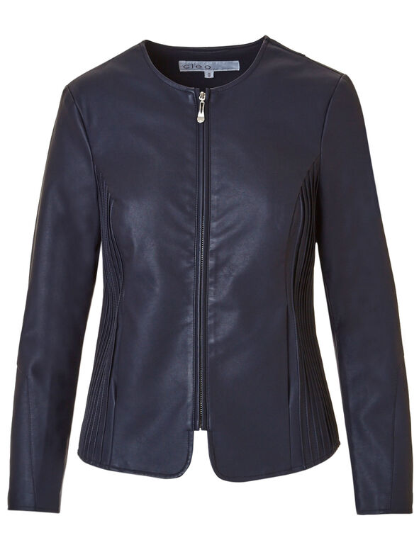 Navy Collarless Faux Leather Jacket, Navy, hi-res