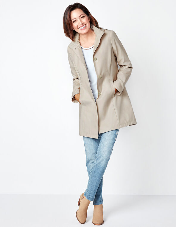 Stone Button Front Jacket, Stone, hi-res