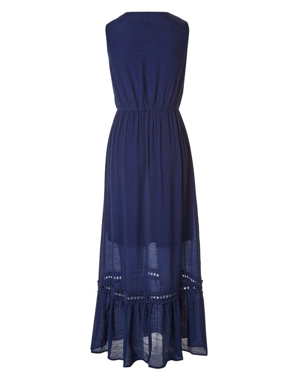 Ink Blue Gauze Maxi Dress, Ink Blue, hi-res
