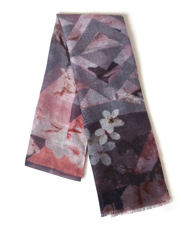 Purple Floral Oblong Scarf, Purple, hi-res