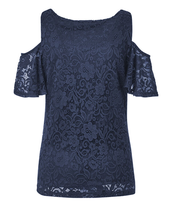 Navy Lace Cold Shoulder Top, Navy, hi-res
