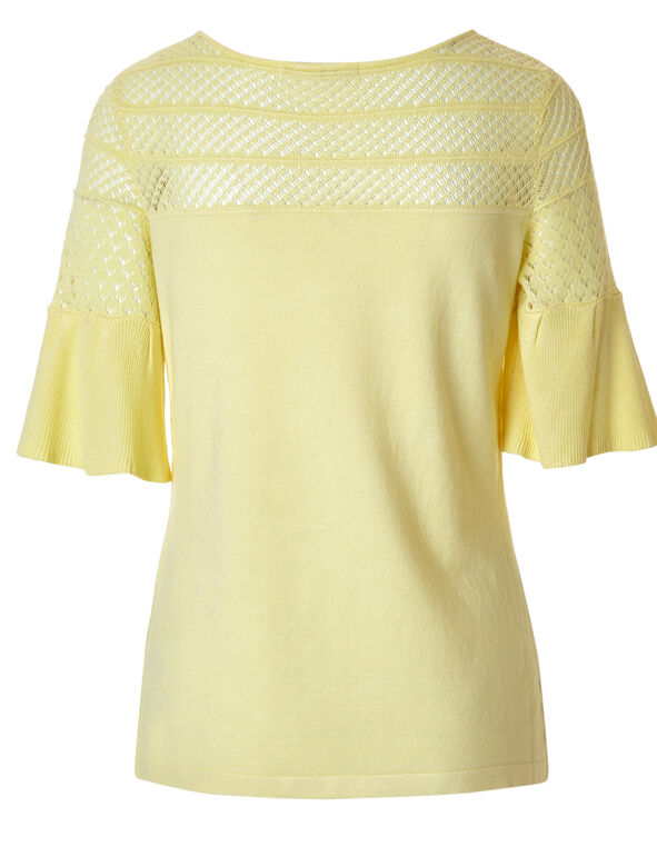 Yellow Bell Sleeve Crochet Sweater, Yellow, hi-res