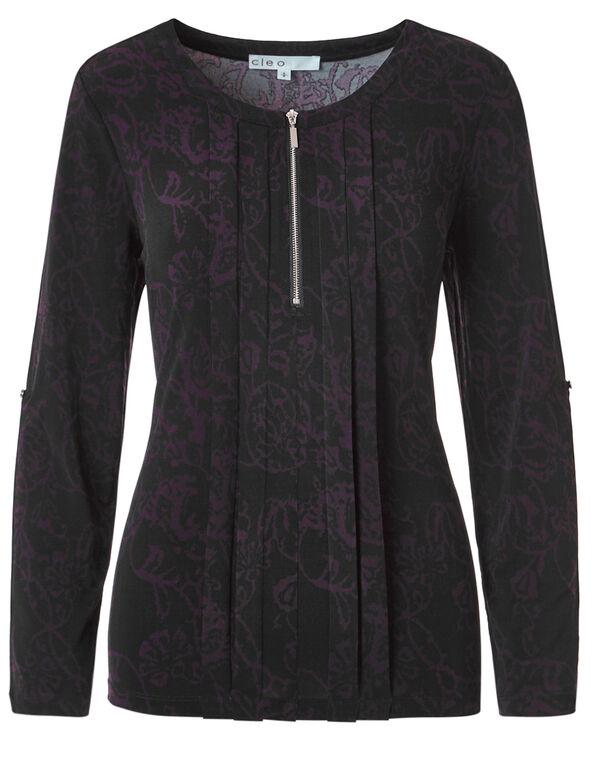 Purple Printed Roll Up Sleeve Top, Black, hi-res